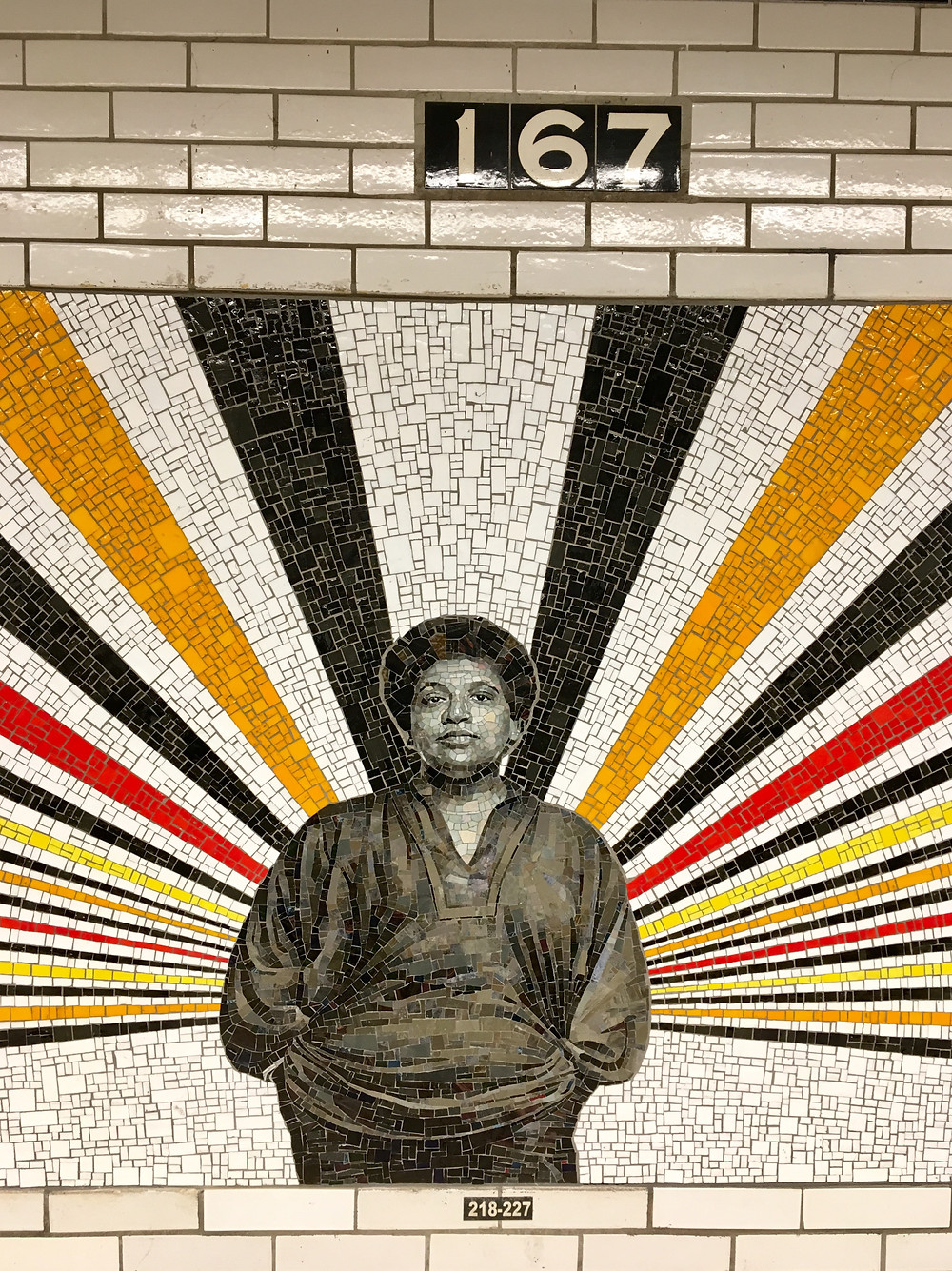 Rico Gatson's mosaic portrait of Audre Lorde in the 167 St subway station in the Bronx
