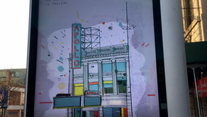 Two uptown buildings–and their illustrator–get their 15 minutes of fame on LinkNYC
