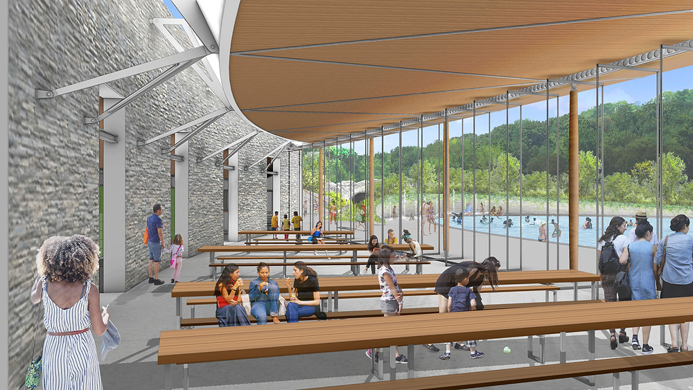 Interior view of the pavilion at the pool in Central Park's north end. Rendering courtesy of Susan T. Rodriguez Architecture.