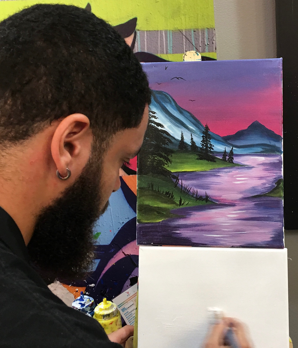 Instructors at Harlem's Paint N Pour guide you step by step