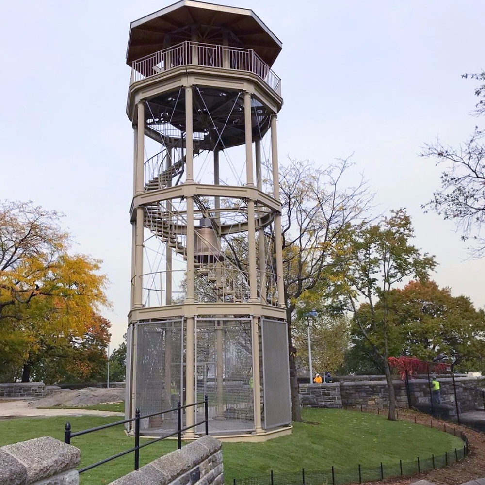 The newly renovated Mt. Morris Fire Watchtower in Harlem's Marcus Garvey Park