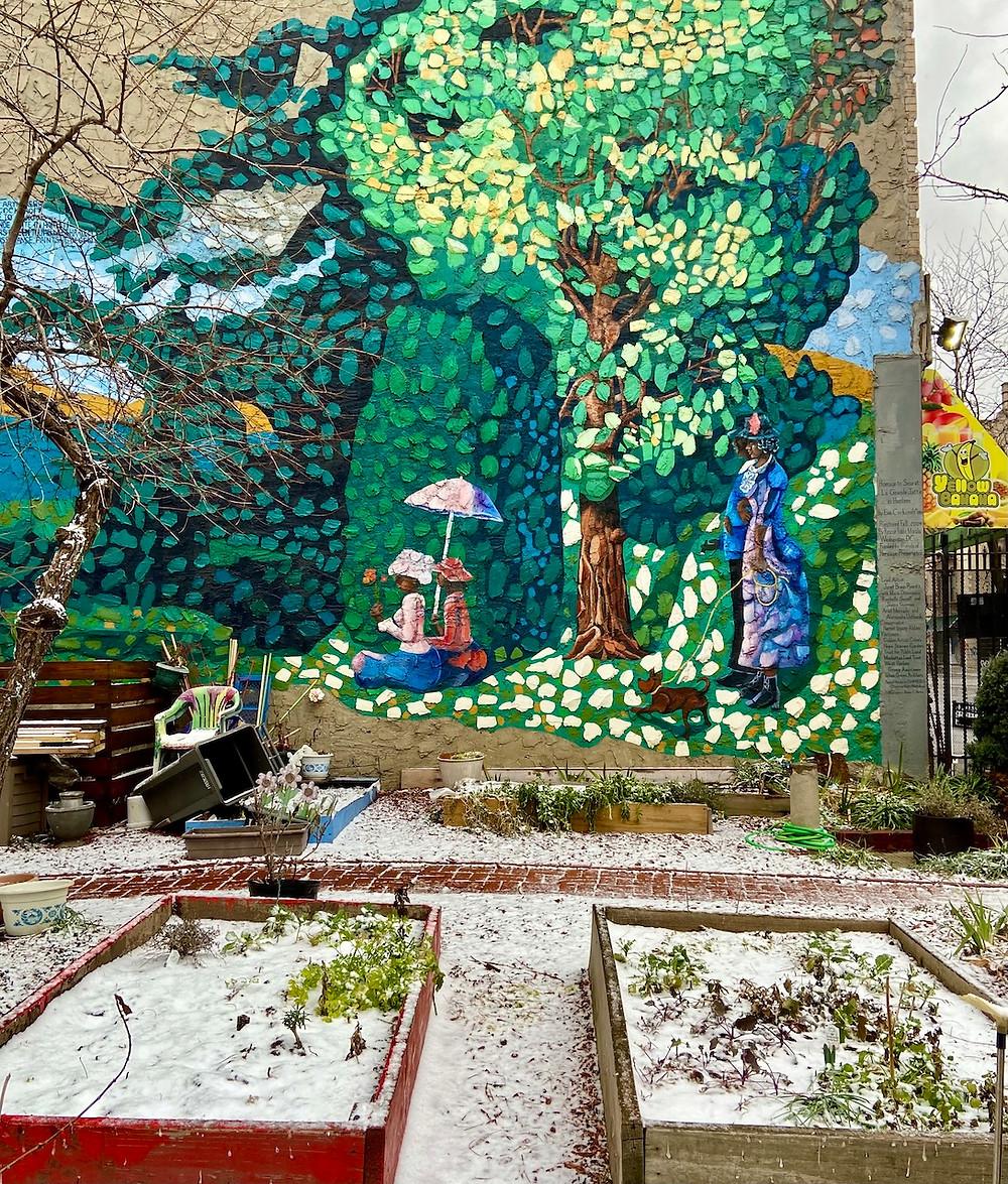"""Homage to Seurat: La Grande Jatte in Harlem"" mural by Eva Cockcroft"