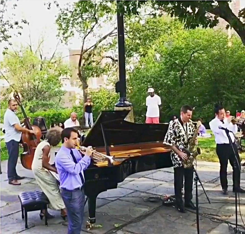 Jazz pianist Marjorie Eliot performing at the Morris-Jumel Mansion