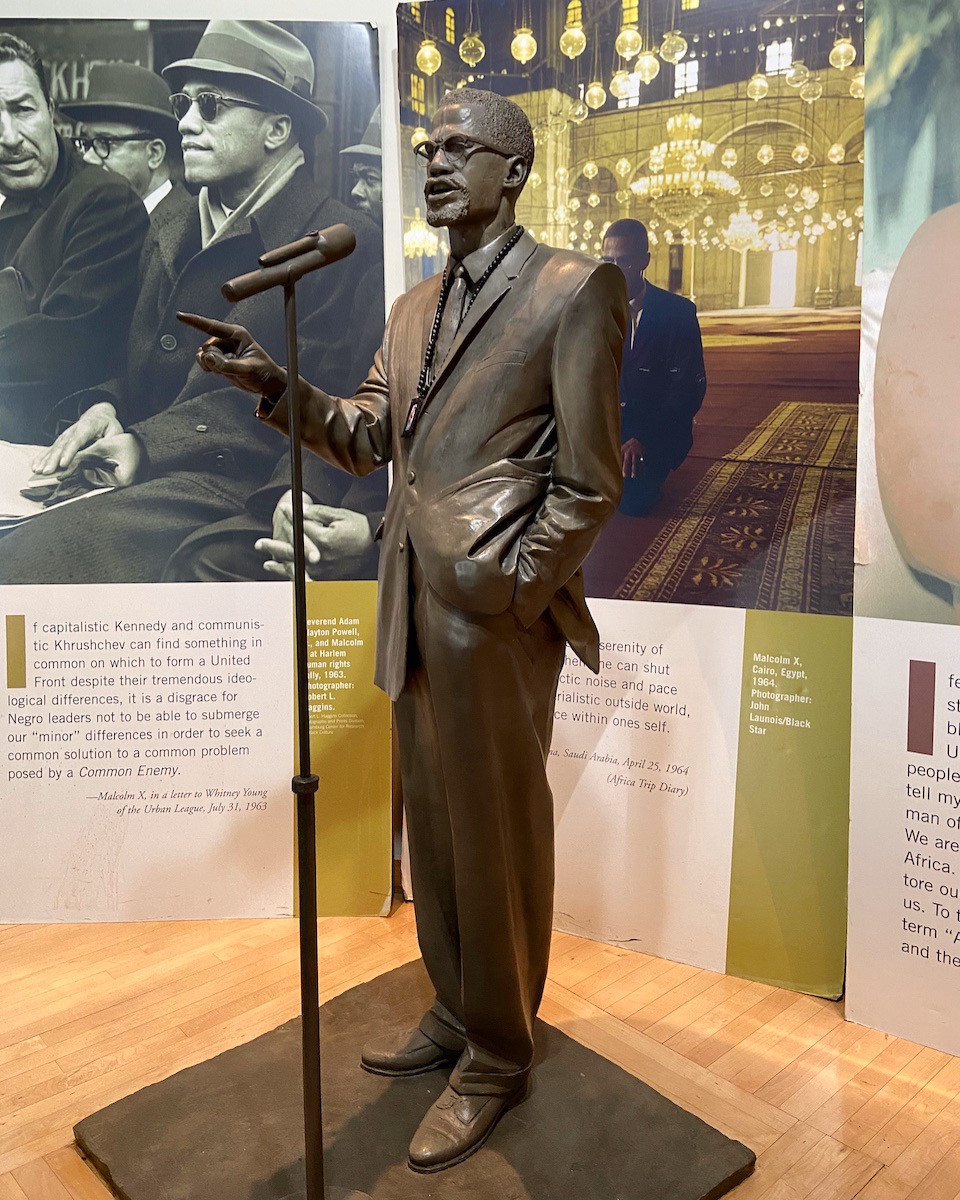 A statue of Malcolm X in the former Audubon Ballroom in Washington Heights
