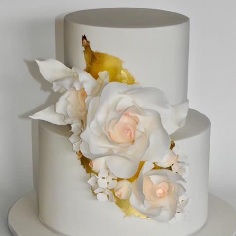 Gold leaf peony cake