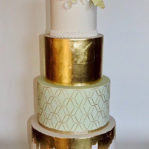 Mint & Gold Peony Cake
