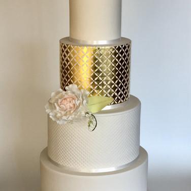 Gold Leaf Diamond Stencil Cake