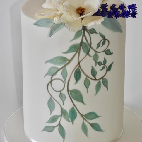 Painted Leaf Vines Cake