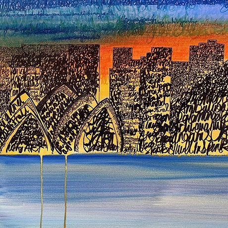 Skyline painting with unconscious scribb