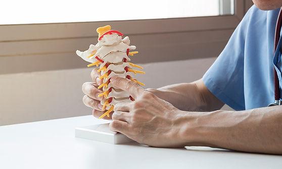 רופא מצביע על נקודות בעמוד השדרה