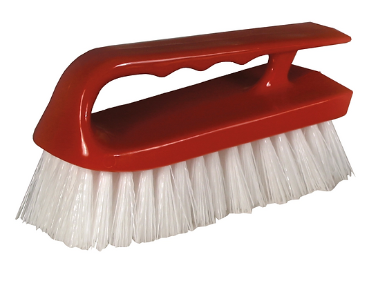 "6"" Synthetic Iron Style Scrub Brush, Red"