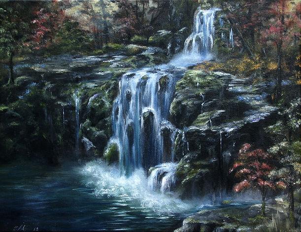 painting, silver dtream waterfall.JPG