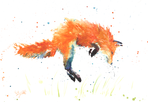 Fox Hop is an absrtact watercolor of an excited fox entered in Art Prize in 2017
