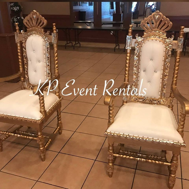 White & Gold Crown Chairs
