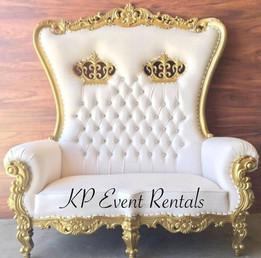 Gold & White Love Seat