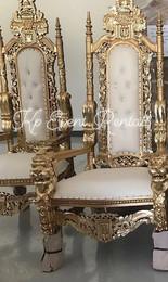 Gold & White Lion Head Throne
