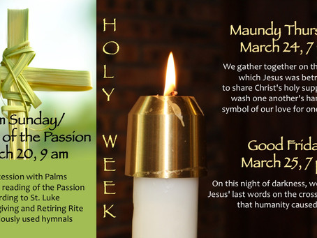 Join us for Holy Week Worship