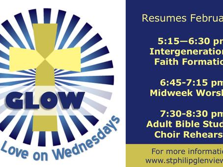 GLOW (God's Love on Wednesdays) Resumes February 7th!