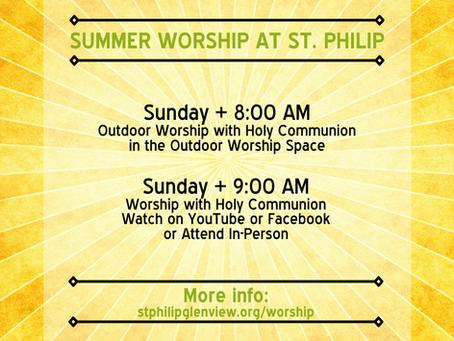 Summer Worship at St. Philip
