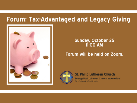 October Forum - Tax-Advantaged and Legacy Giving