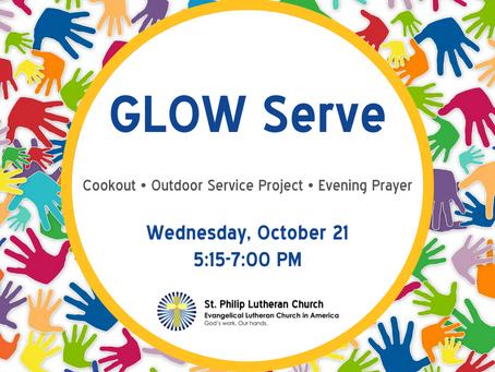 GLOW Serve - Wednesday, October 21