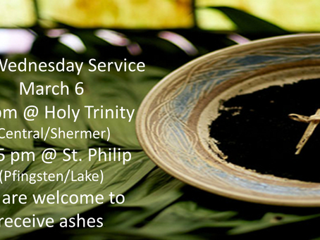 Join us for Worship on Ash Wednesday!
