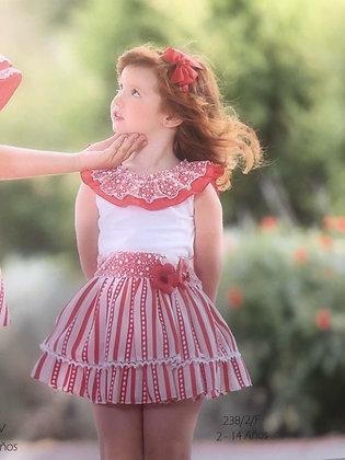 Miranda Girls Set White Red Frill Top with Matching Skirt