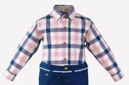Boys Pink Blue Checked Long Sleeved Shirt