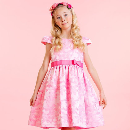 Holly Hastie Sienna Pink Floral Jacquard Girls Party Dress