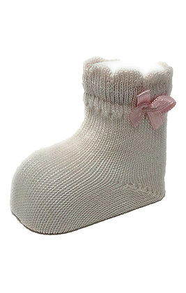 Carlomagno Pink Baby Socks with Bow
