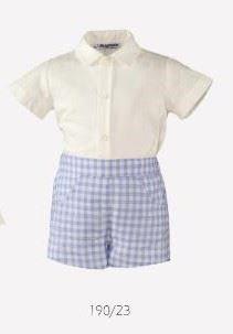 Baby Boys Set White Shirt Checked Shorts