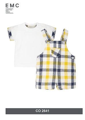 Baby Boys Dungaree Yellow Checked Set