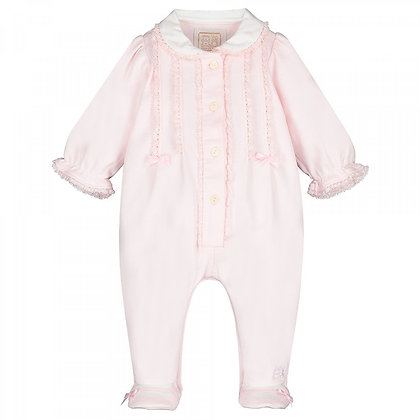 EMILE ET ROSE Pale Pink Baby grow with bows