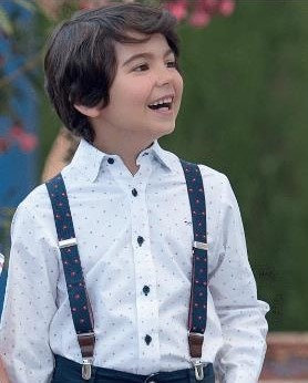 Boys White Shirt Blue and Red Print