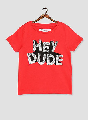 Red Hey Dude T-Shirt Boys
