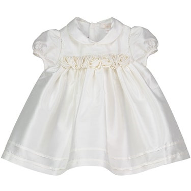 Special Occasion Dress Ivory Roses Silk Baby Girl