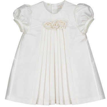 Special Occasion Dress Roses Pleates Ivory Silk