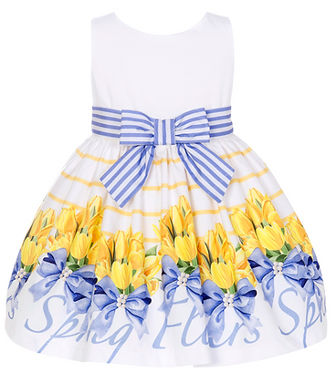 Balloon Chic Girls Dress White, Blue and Yellow Flowers Print Front View