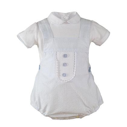 Blue striped Red 2 pc set shirt dungaree shorts baby boy