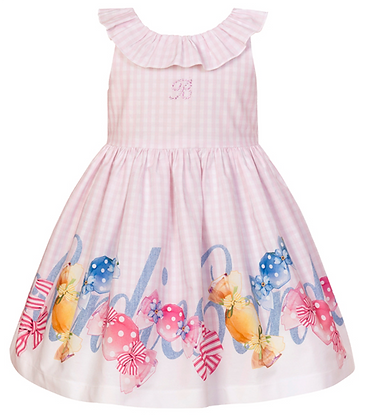 Balloon Chic Girls Pink Dress with Fancy Print Front View