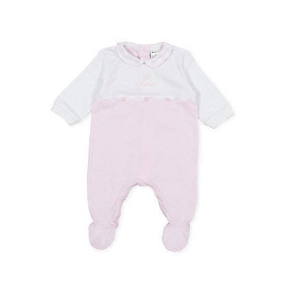 Pink Babygrow checked buttons baby girls white