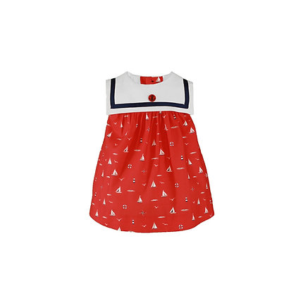 Miranda Red Baby Dress with sea theme print