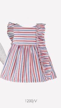 Nel Blu Baby Girls Red & Blue Stripe Baby Girls Dress