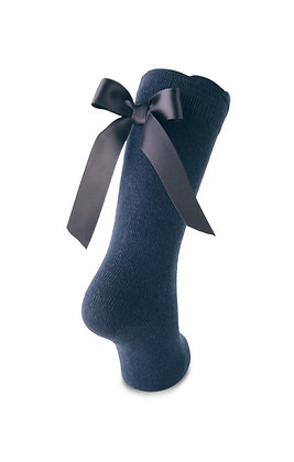 Carlomagno Girls' Navy Blue  High Socks with Bow