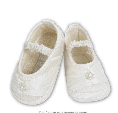 Pram shoes ivory baby girl baptism occasion christening