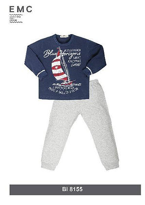 EMC Boys Pyjamas Long Sleeved Top Trousers Grey Blue