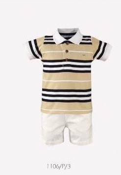 Miranda Boys Cotton Beige Striped Polo Shirt