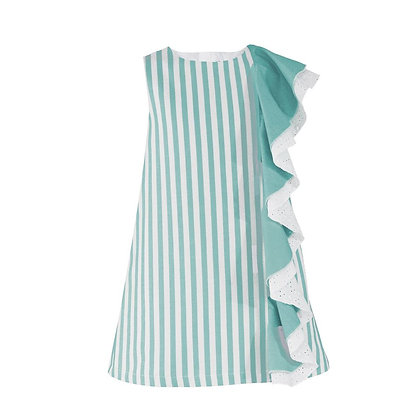 Striped Dress Frill Teal White Occasion