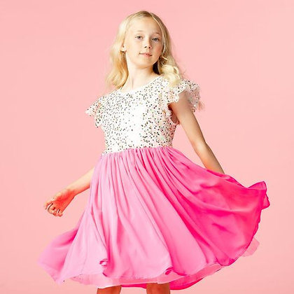 Holly Hastie Girls Party Dress Shimmer Pink Sweetie Sequin