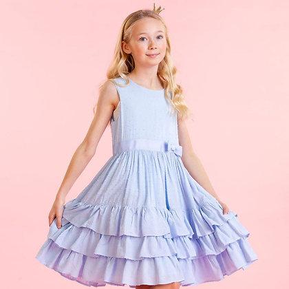 Powder Sky Pastel Blue Dress Frills Bow Sleeveless Occasion